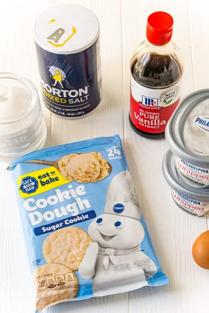 ready to bake sugar cookie dough, whipped cream cheese, eggs, granulated sugar, vanilla extract, kosher salt