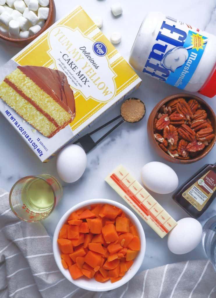yellow cake mix, vegetable oil, large eggs, water, diced steamable sweet potato, marshmallow fluff, cream cheese ,unsalted butter, light brown sugar, chopped pecans