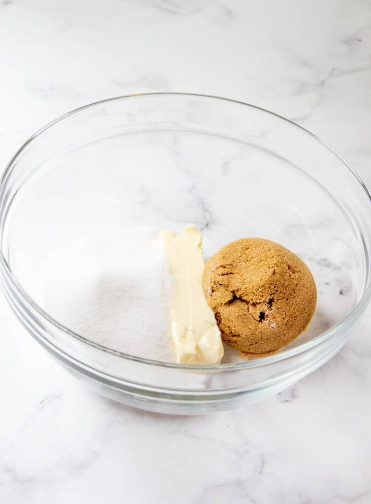 sugar, brown sugar and butter in a large clear bowl