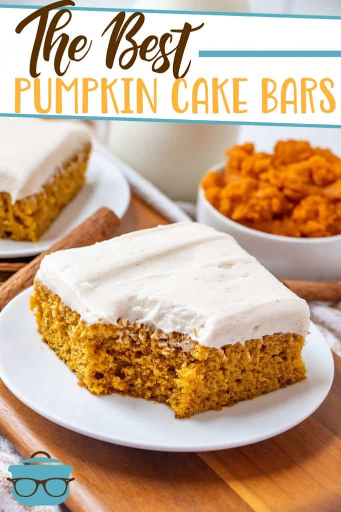 The Best Pumpkin Cake Bars recipe from The Country Cook, a slice shown on a small white round plate with a bite taken out