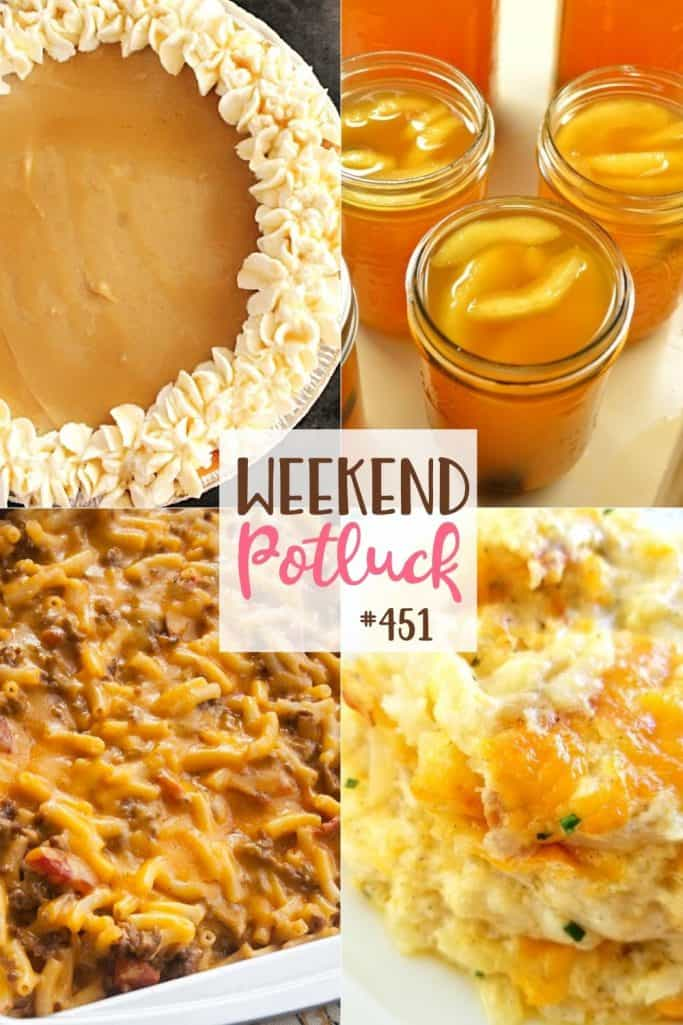 Weekend Potluck recipes: Apple Pie Moonshine, Easy Cheeseburger Mac and Cheese, Maple Cream Pie and Secret Ingredient Hash Brown Casserole