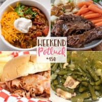 Weekend Potluck recipes include: Mama's 'Cooked to Death' Green Beans, Slow Cooker Ham BBQ Sandwiches, Crock Pot Chili and Crock Pot 3-Packet Pot Roast