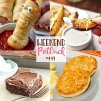 Weekend Potluck recipes: Marshmallow Fluff Chocolate Cake, Baked Parmesan Ranch Potato Wedges, English Muffin Garlic Toast and Mummy Dogs