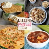 Weekend Potluck featured recipes include: Slow Cooker Beef Stew, Apple Butter Pie, Caramel Apple Fluff and Creamy Chicken Bake