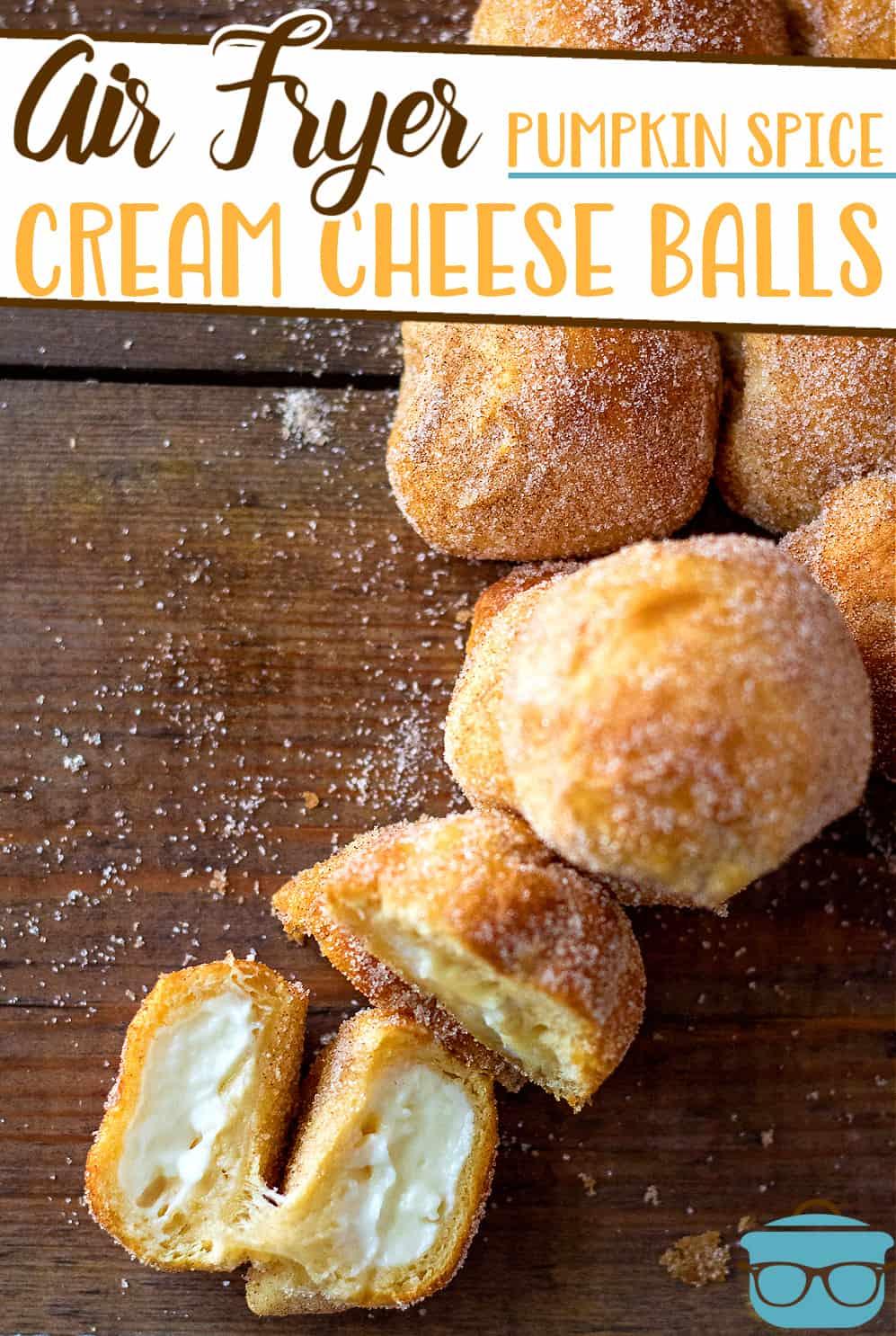 Air Fryer Pumpkin Spice Cream Cheese Bites is a fun and easy dessert recipe! Cream cheese wrapped dough balls rolled in spiced sugar!