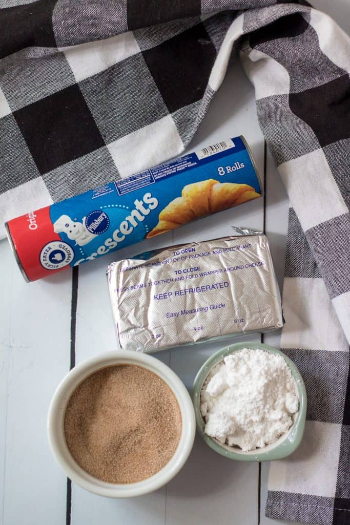 crescent roll dough, cream cheese, powdered sugar, granulated sugar, pumpkin pie spice, ground cinnamon