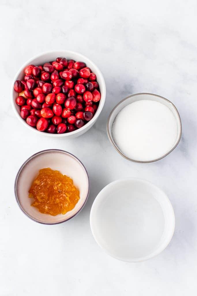 fresh cranberries, sugar, water, orange marmalade