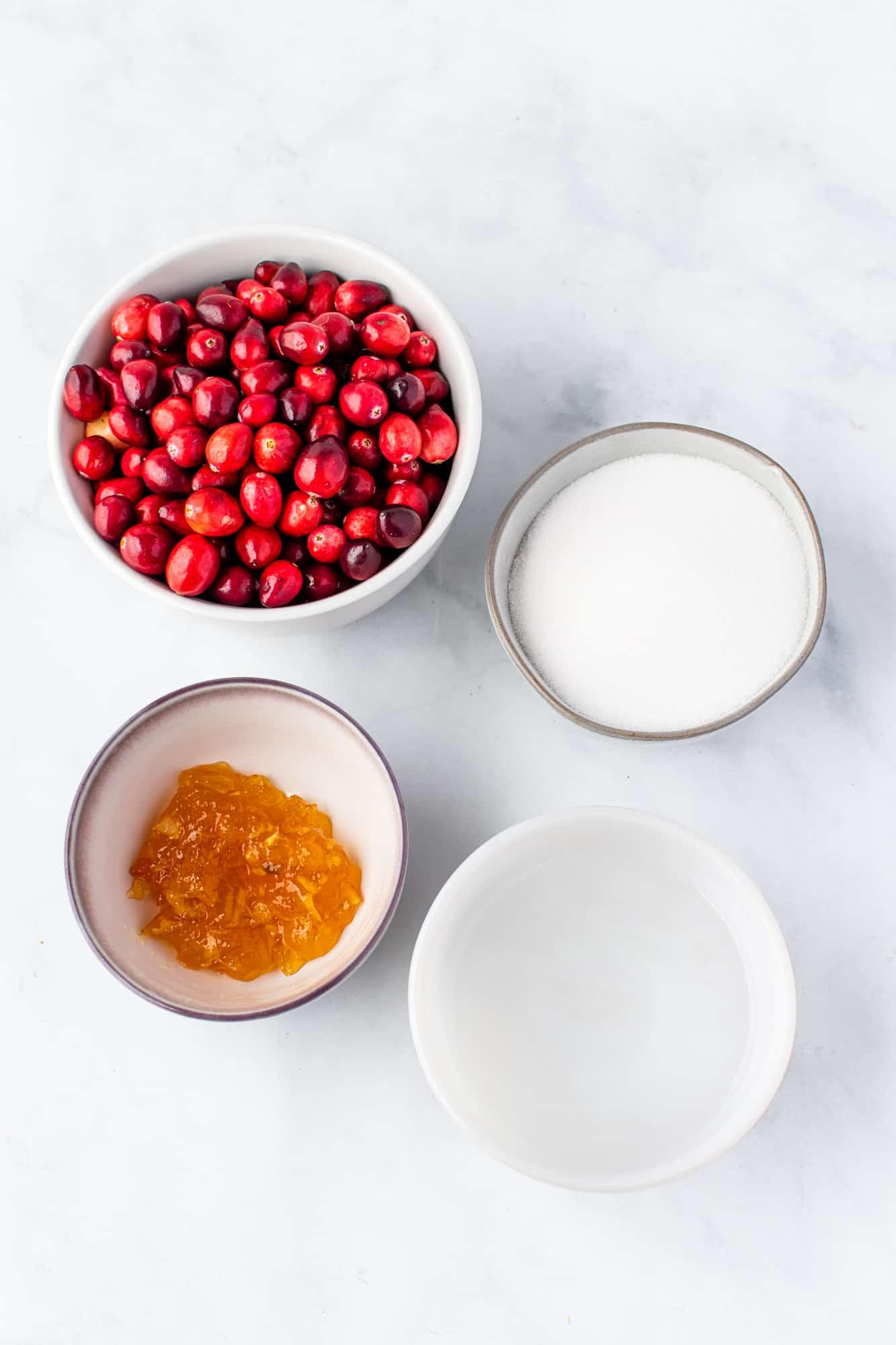 fresh cranberries, sugar, water, orange marmalade.