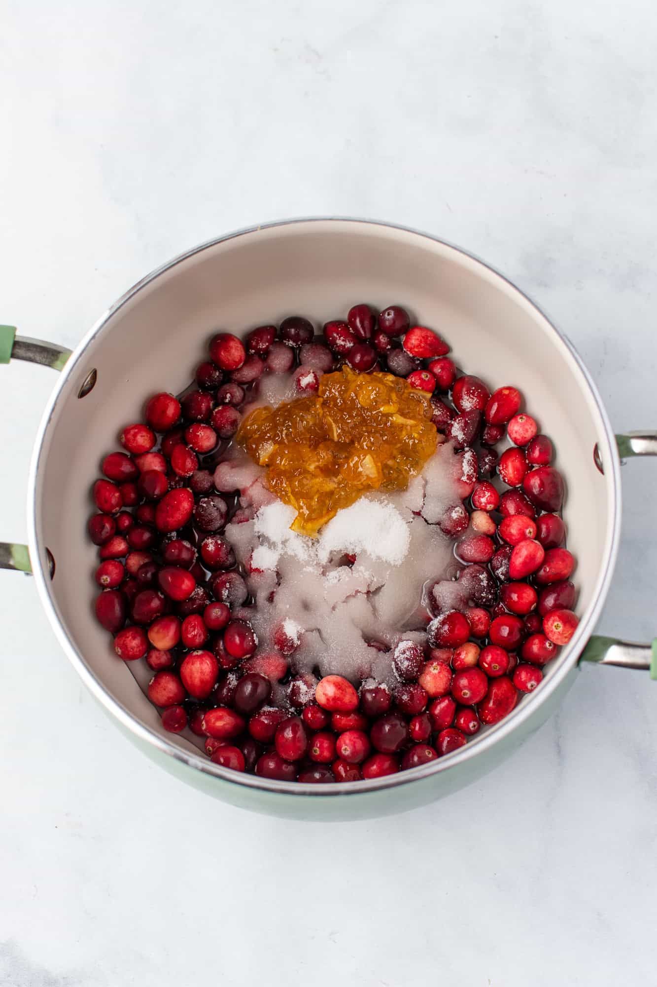 FRESH CRANBERRIES, WATER, SUGAR AND ORANGE MARMALADE IN A MEDIUM SAUCE PAN.