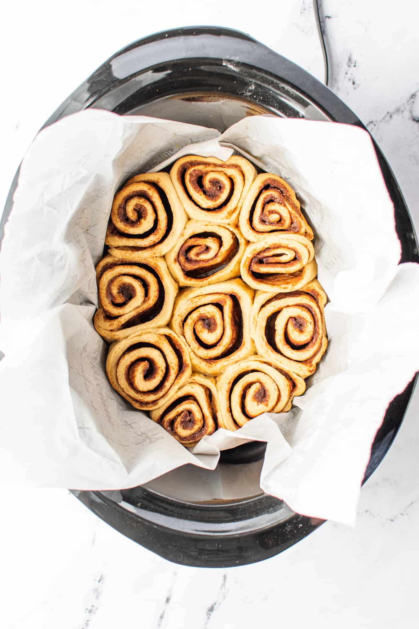 fully baked cinnamon rolls in the slow cooker