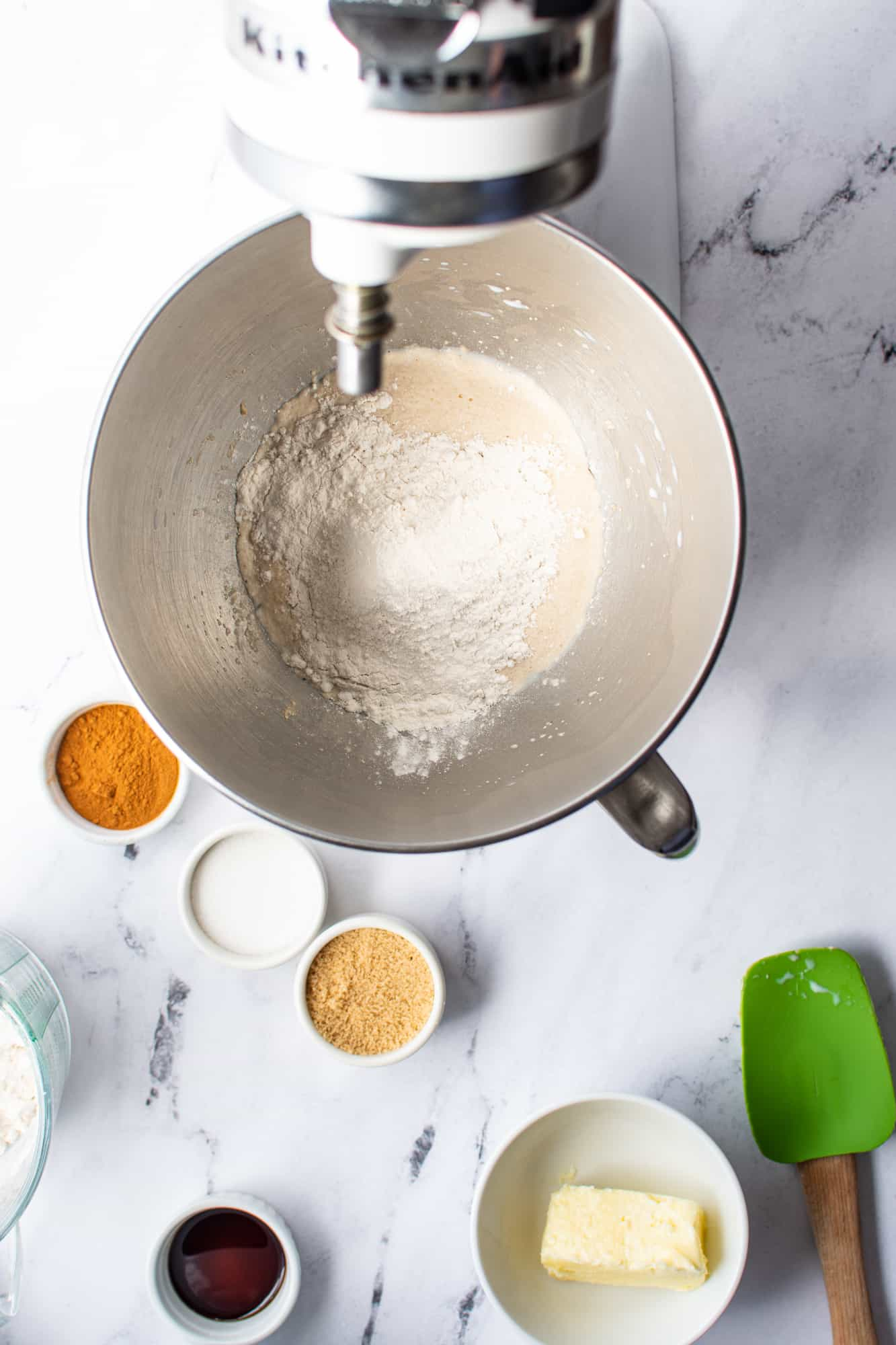 flour added to yeast mixture in the bowl of an electric stand mixer