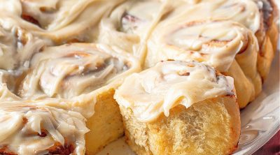 Crock Pot Cinnamon Rolls with Maple Cream Cheese Icing