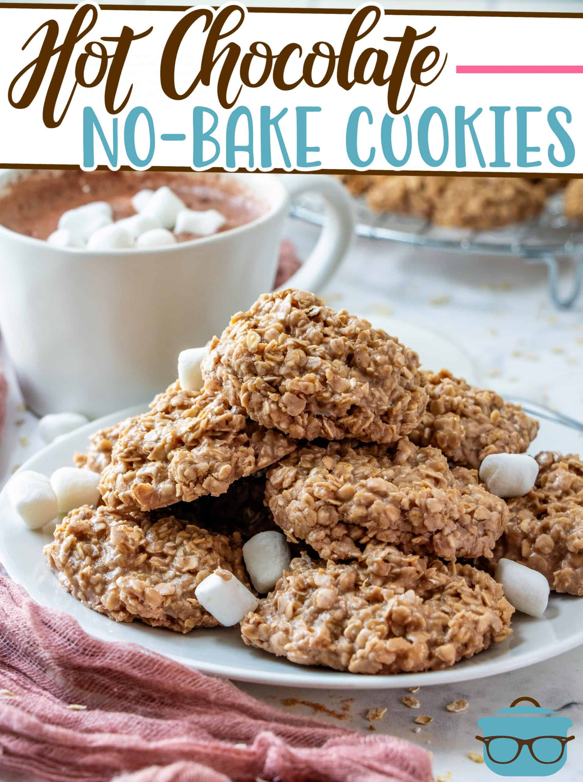 This recipe for Hot Chocolate No-Bake Cookies can be made in minutes! Oats, butter, marshmallow fluff and hot cocoa. So good!