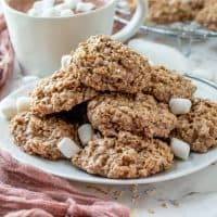 HOT CHOCOLATE NO BAKE COOKIES, stacked on a plate with marshmallows