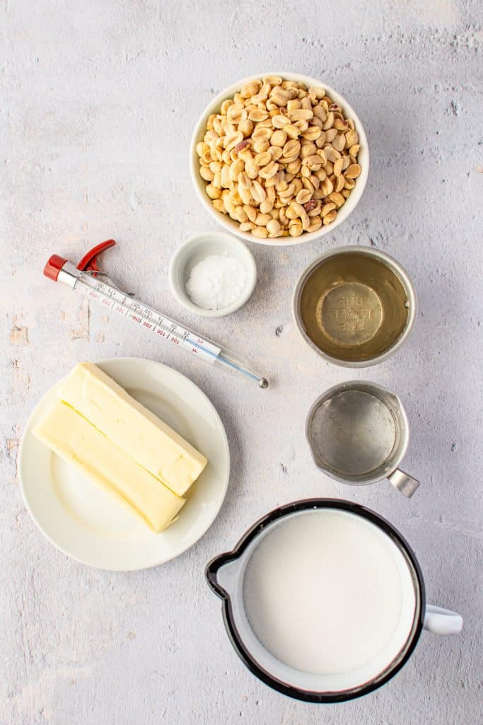 sugar, light corn syrup, water, salt, unsalted butter, unsalted dry roasted peanuts, baking soda