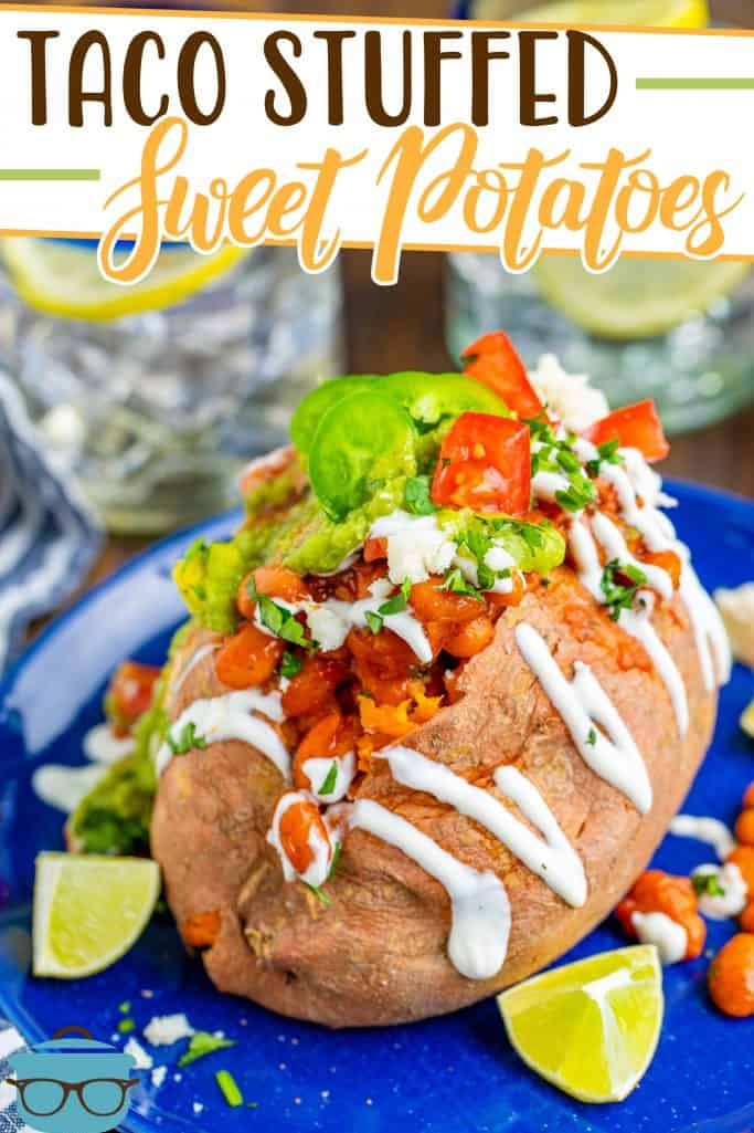 Vegetarian Taco Stuffed Sweet Potatoes recipe from The Country Cook, sweet potato shown on a blue plate with slices of lime on the sides