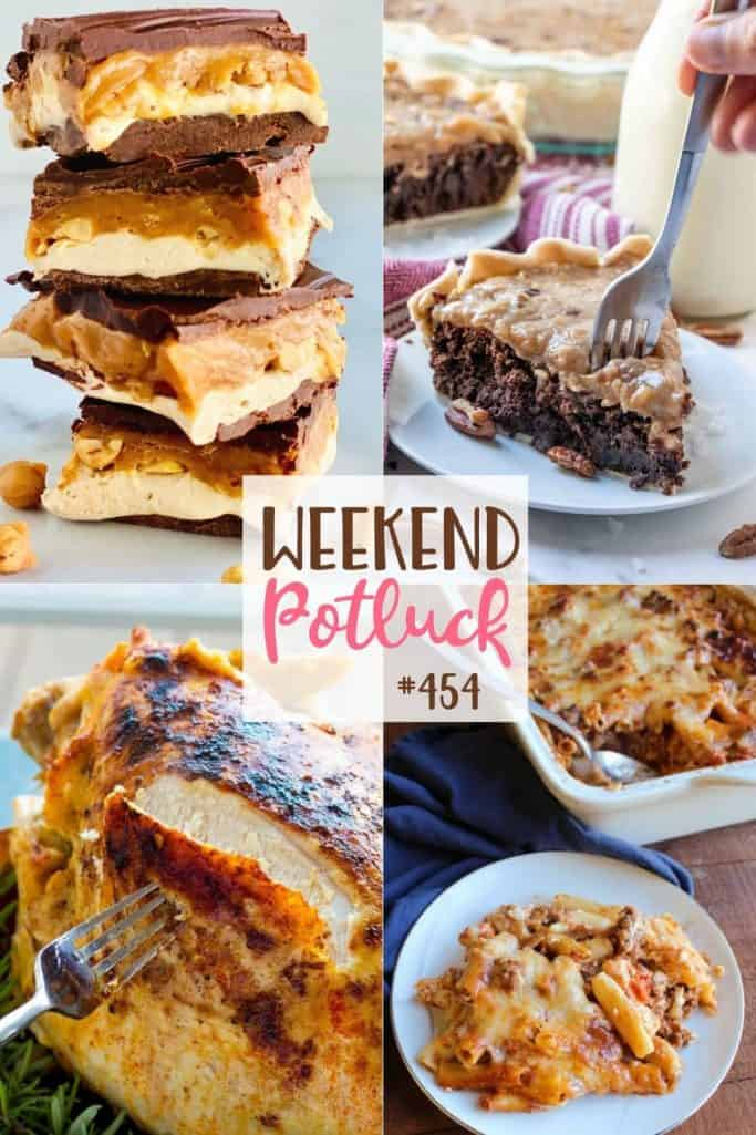 Weekend Potluck Featured Recipes: Slow Cooker Turkey Breast with Gravy, Homemade Snickers Bars, No-Boil Baked Ziti, German Chocolate Pie and Homemade Pumpkin Roll