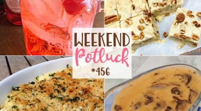 Weekend Potluck featured recipes include: Homemade Mushroom Sauce, Creamy Garlic Mashed Potatoes, Butter Pecan Fudge and Shirley Temple Mocktail