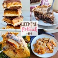 Weekend Potluck recipes: Slow Cooker Turkey Breast, Homemade Snickers Bars, No-Boil Baked Ziti, German Chocolate Pie and Homemade Pumpkin Roll
