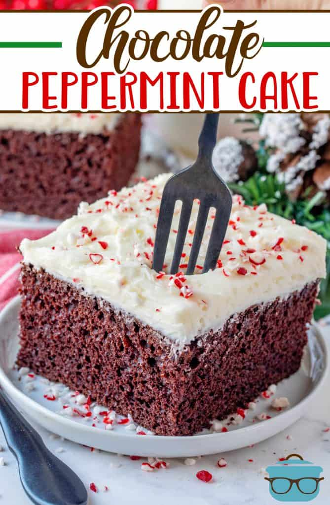 Homemade Chocolate Peppermint Cake recipe from The Country Cook, slice shown on a white plate with a fork inserted into the cake