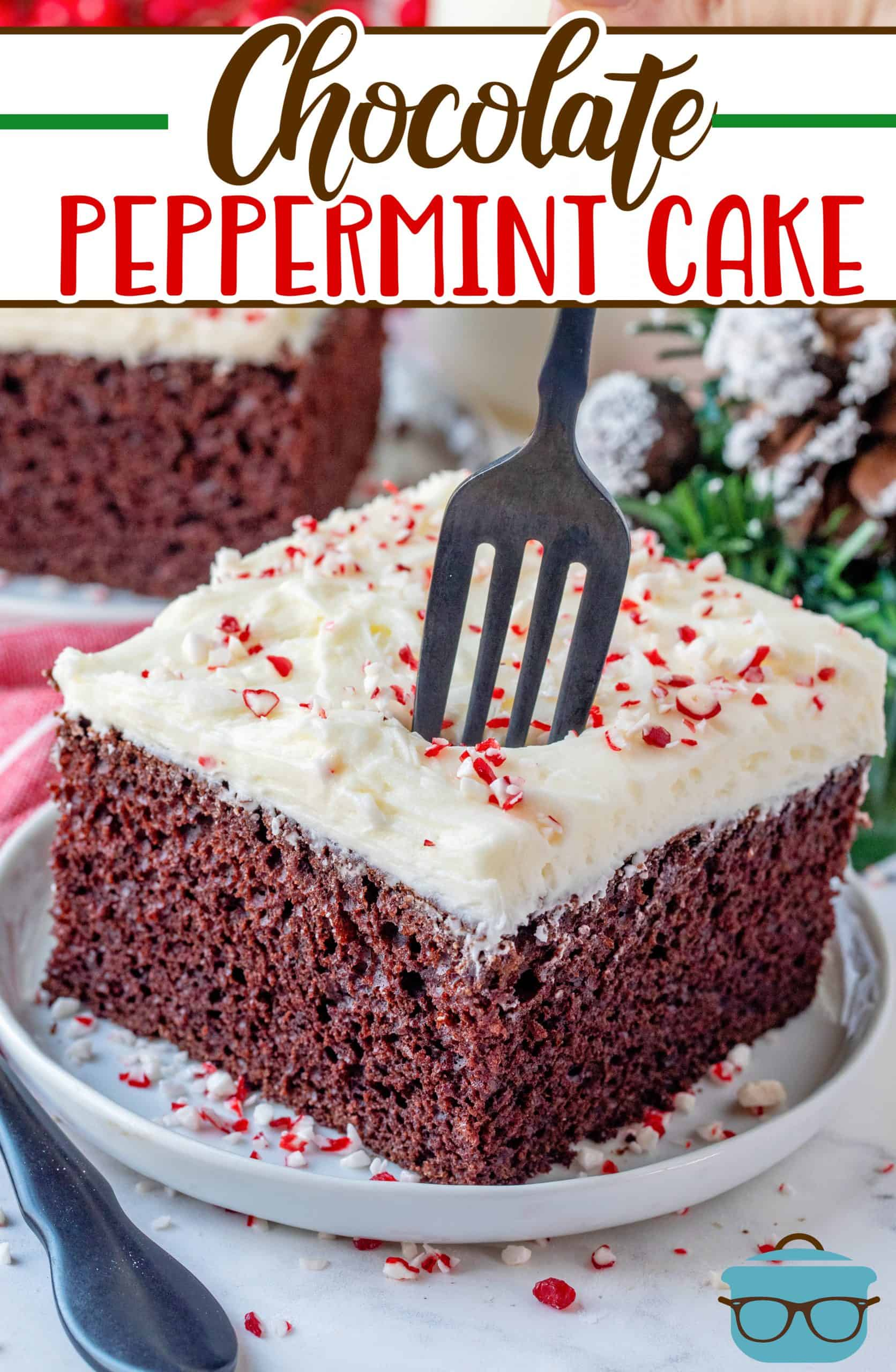 This Chocolate Peppermint Cake recipe is a homemade chocolate cake topped with a thick and creamy peppermint frosting!