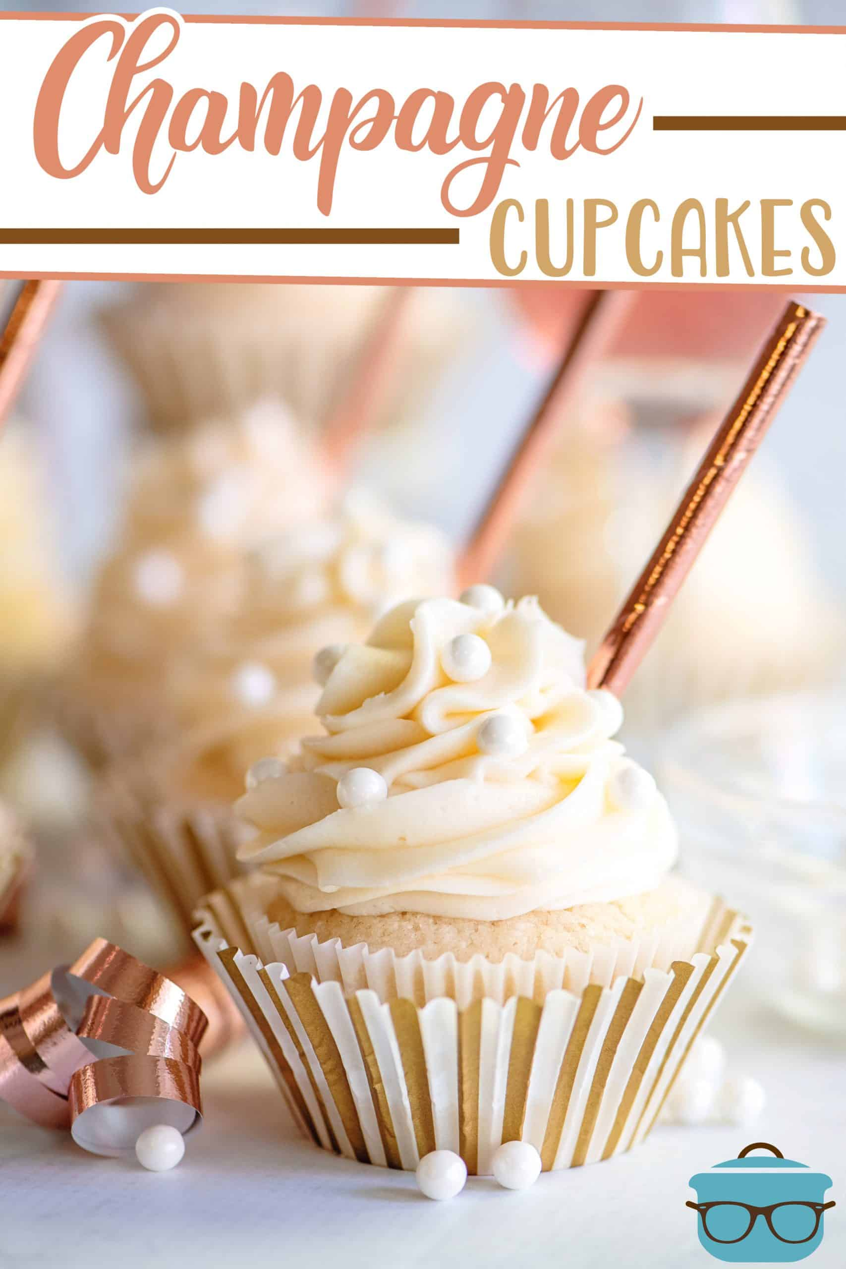 Celebrate the New Year or new beginnings with this recipe for Homemade Champagne Cupcakes! Moist cupcakes topped with a creamy frosting!