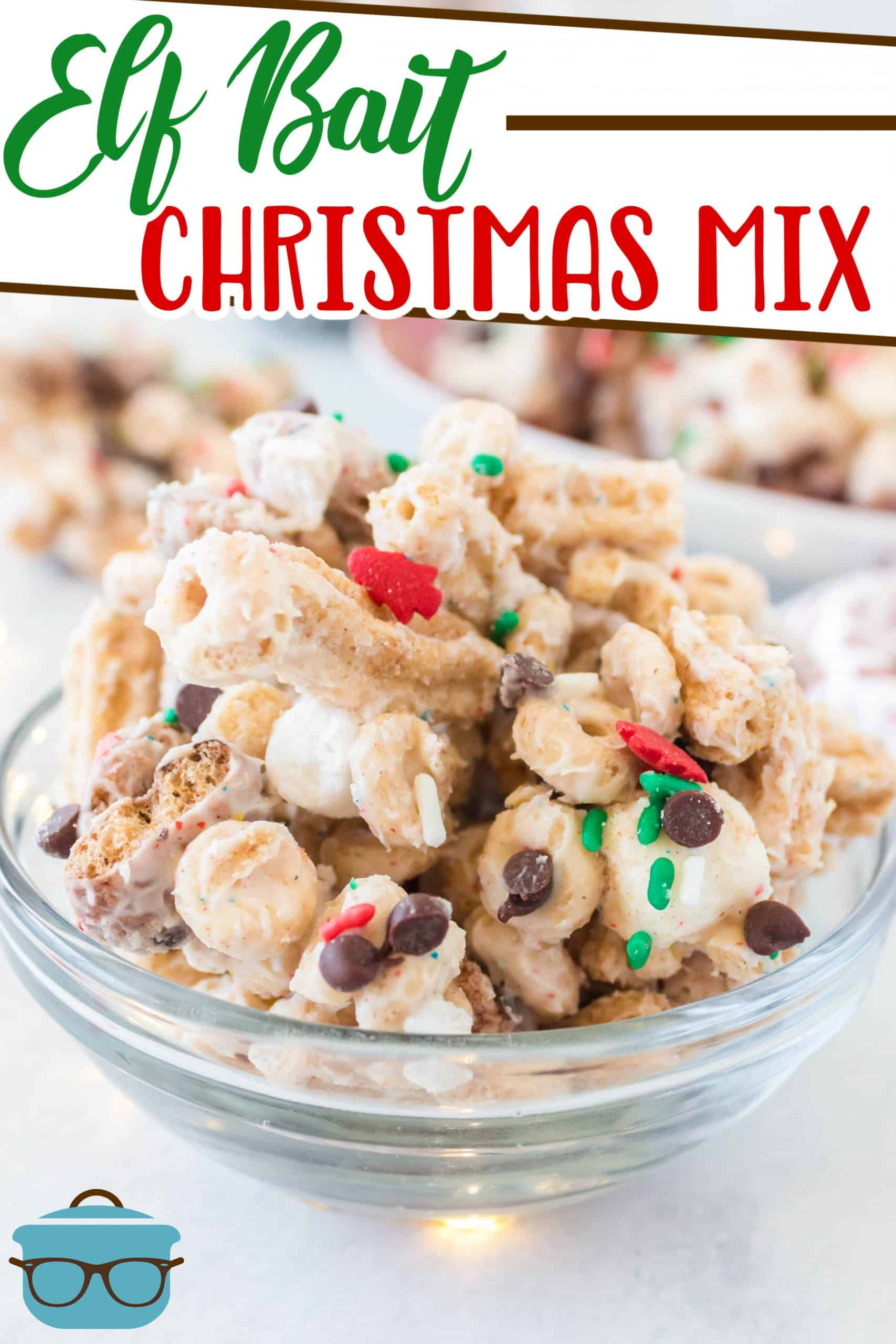 This Elf Bait Christmas Mix recipe is such a fun holiday treat! Grab your favorite cereal, some chocolate and some sprinkles. No baking!