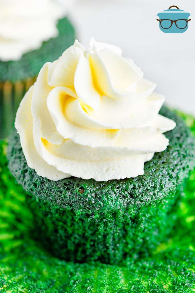 Green Velvet Cupcake, shown close up with part of the cupcake liner removed