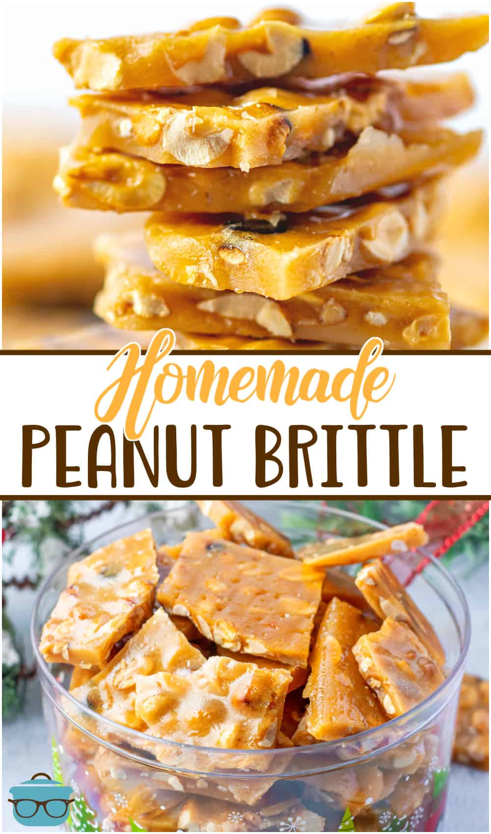 This recipe for Easy Homemade Peanut Brittle is a delicious, crisp, buttery candy filled with peanuts that is perfect for gift giving!