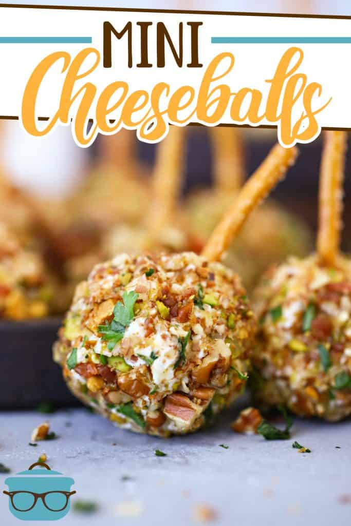 Easy Mini Cheeseballs coated in pecans and pistachios and topped with pretzel sticks, recipe from The Country Cook