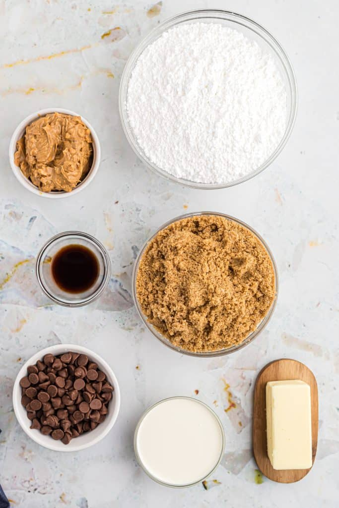 salted butter, light brown sugar, heavy cream, crunchy peanut butter, vanilla extract, powdered sugar, chocolate chips