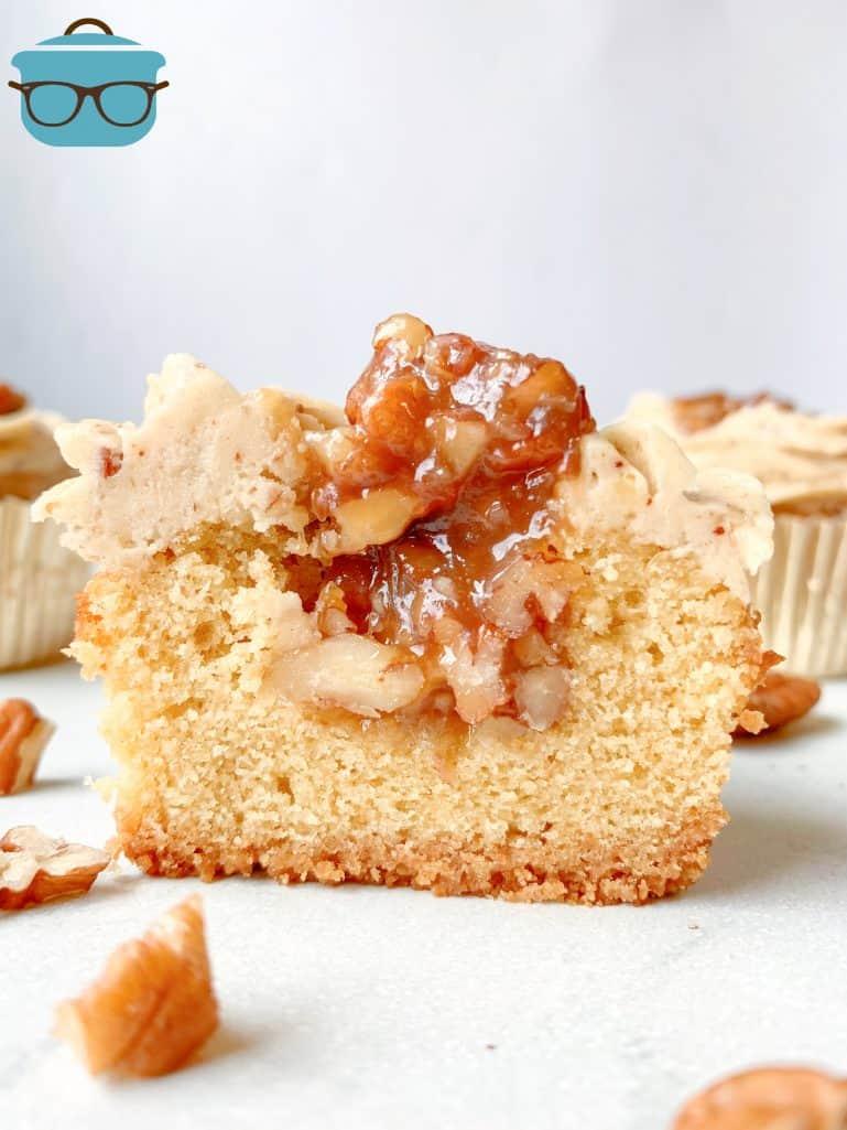 pecan cupcake cut in half to show inside