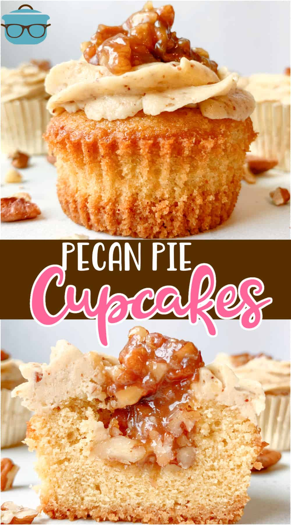 This recipe for Homemade Pecan Pie Cupcakes is a moist butter pecan cupcake, a thick pecan pie filling and topped with butter pecan frosting!