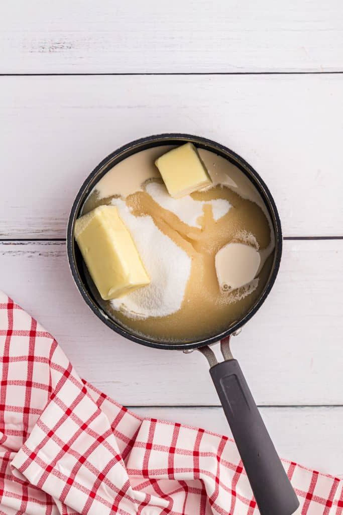 sugar, butter and milk in a sauce pan