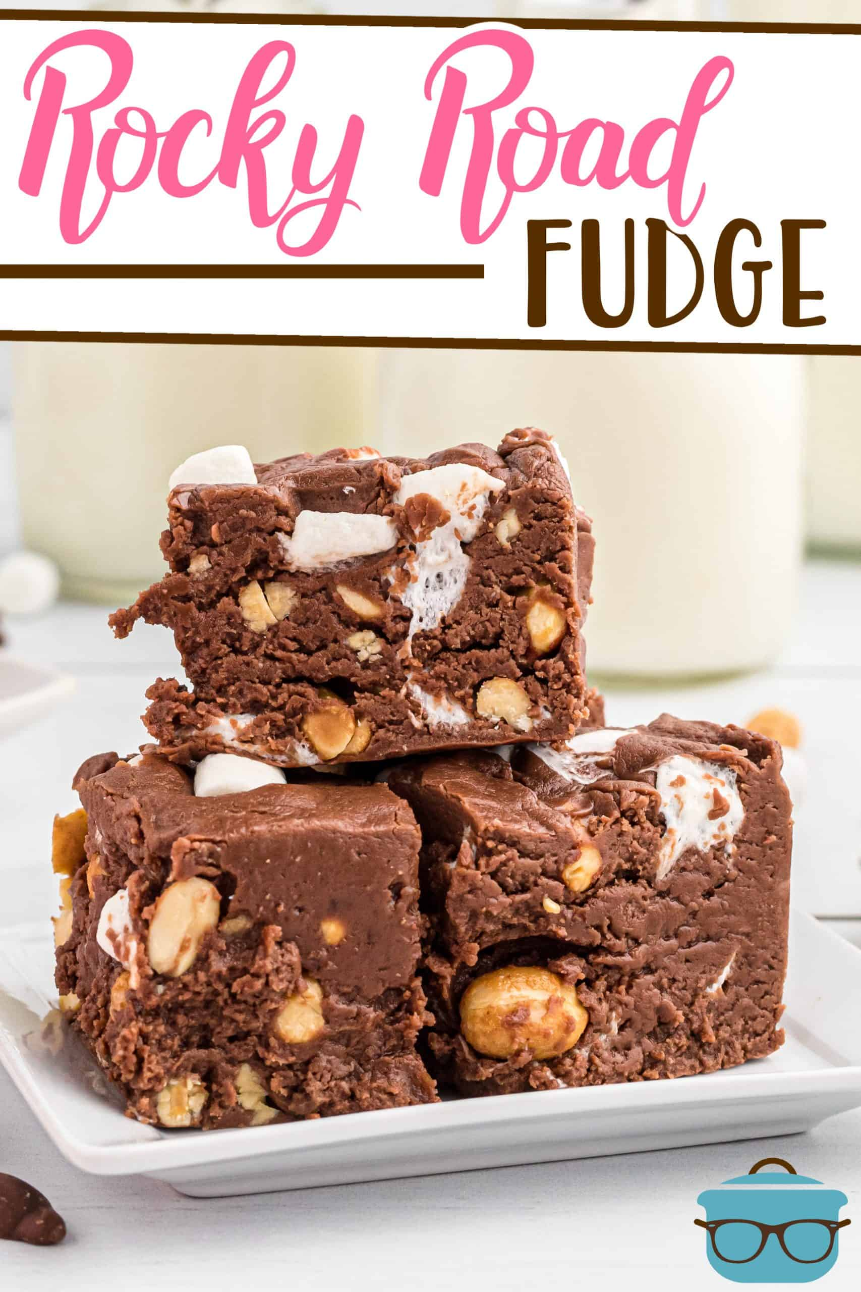 This Homemade Rocky Road Fudge is an easy recipe for a thick, rich chocolate fudge stuffed with mini marshmallows and peanuts!