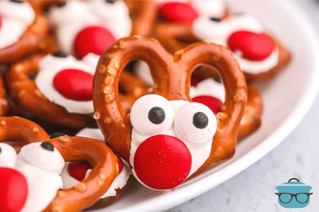 closeup photo of reindeer pretzel on a white plate