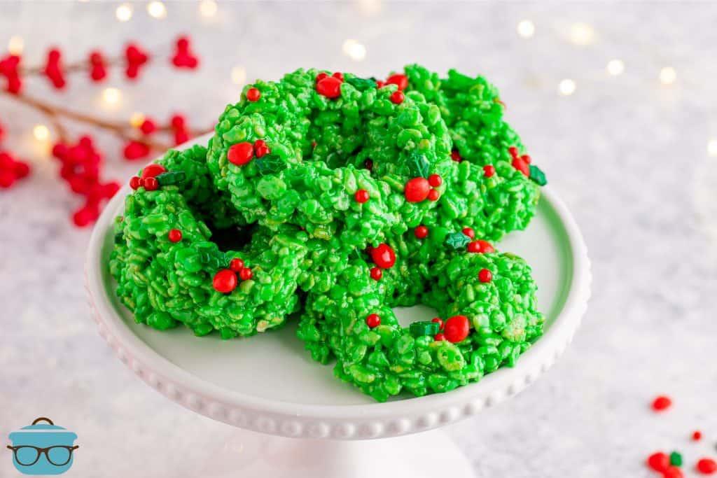 Rice Krispies Wreaths on a white cake pedestal