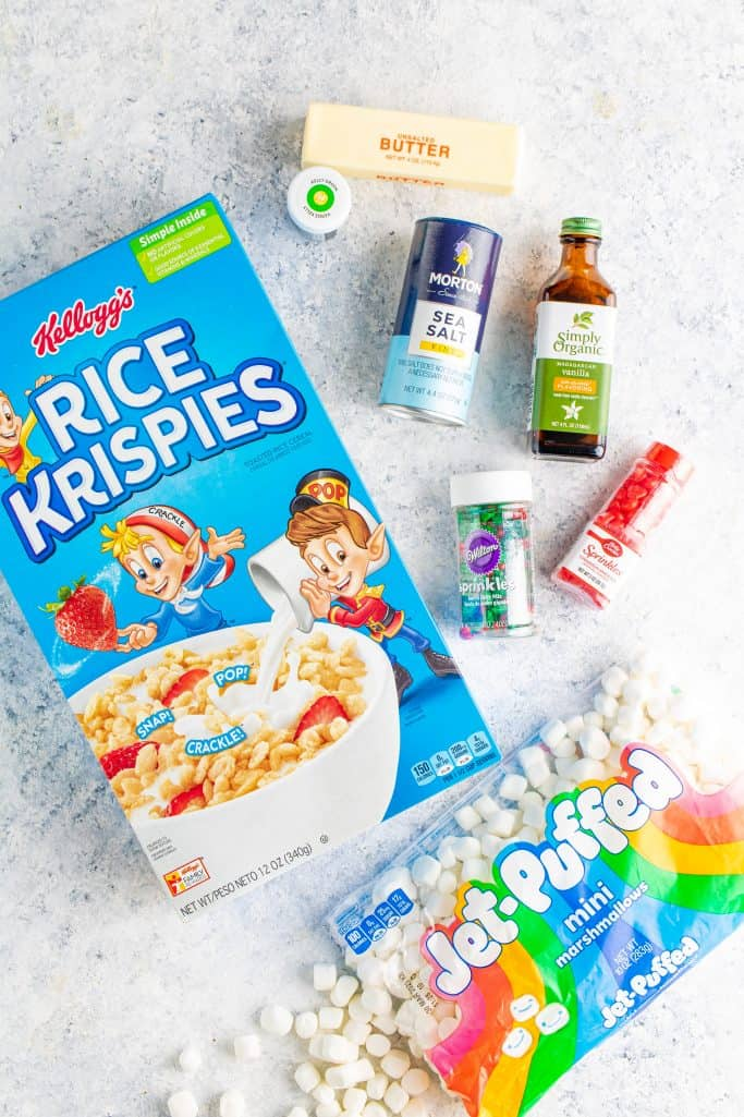 mini marshmallows, unsalted butter, vanilla extract, salt, green gel food coloring, Rice Krispies cereal, red hots cinnamon candies, sprinkles