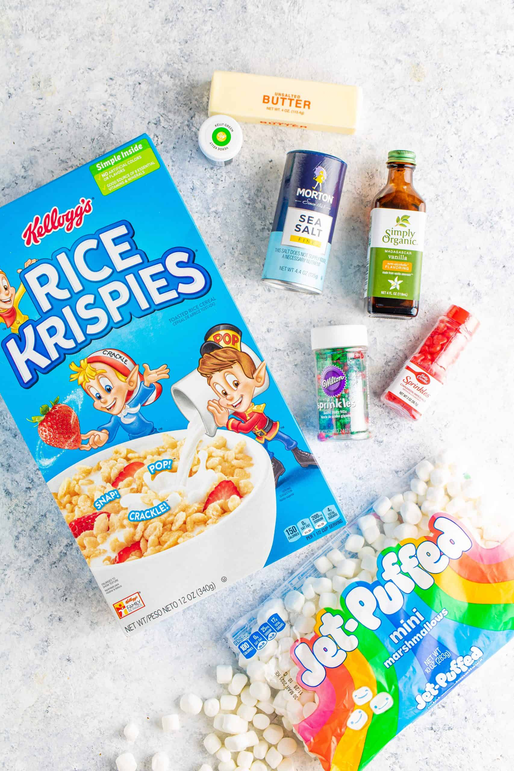 mini marshmallows, unsalted butter, vanilla extract, salt, green gel food coloring, Rice Krispies cereal, red hots cinnamon candies, sprinkles.