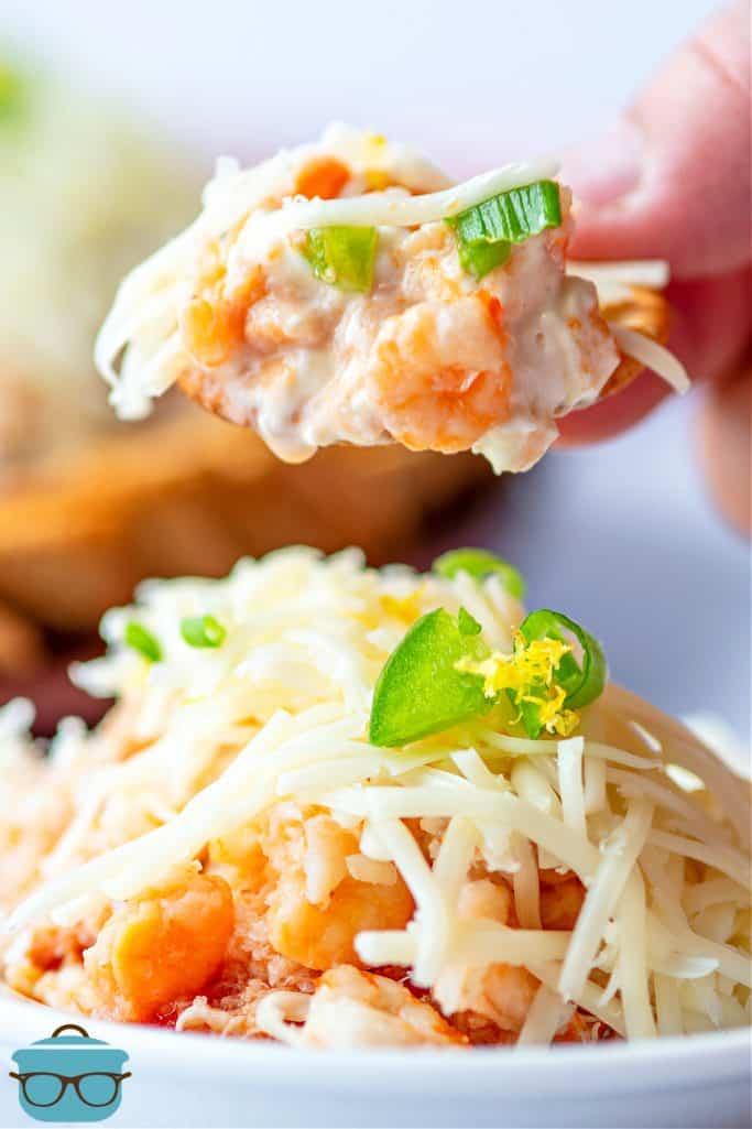 cracker dipped into crab dip