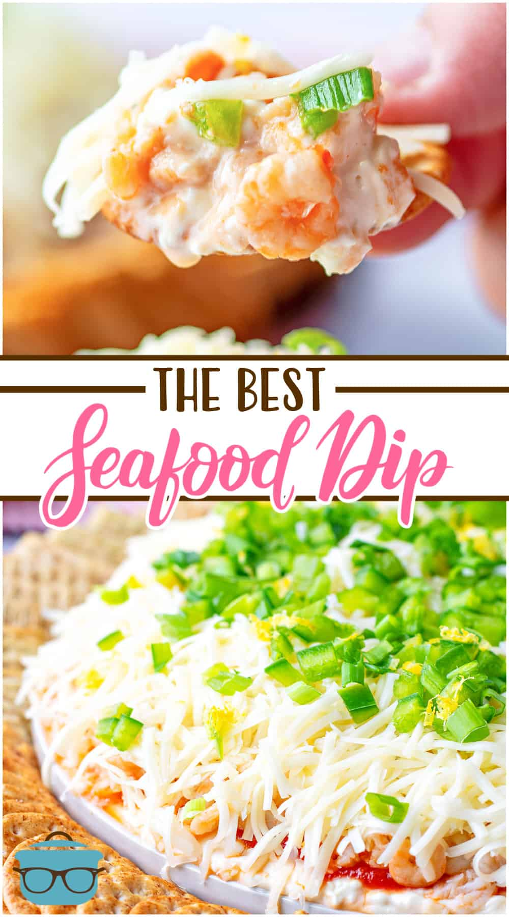The Best Crab Dip appetizer recipe is filled with crab meat, shrimp, seasoned cream cheese, cocktail sauce, green onions and cheese!
