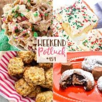 Weekend Potluck recipes include: Christmas Sugar Cookie Cake, Rolo Cake Mix Cookies, Cream Cheese Sausage Balls and White Chocolate Trash.