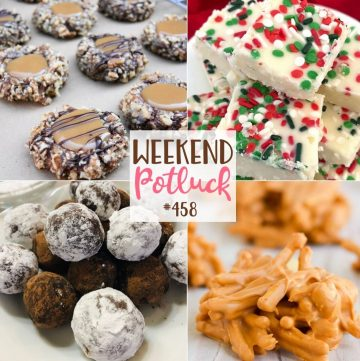 Weekend Potluck recipes: Insanely Delicious Turtle Cookies, 2-Ingredient White Fudge, No-Bake Bourbon Balls and Butterscotch Haystacks!