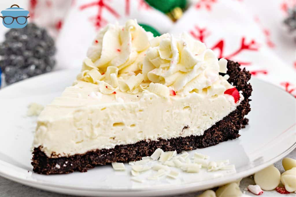 slice of white chocolate peppermint pie on a round white plate