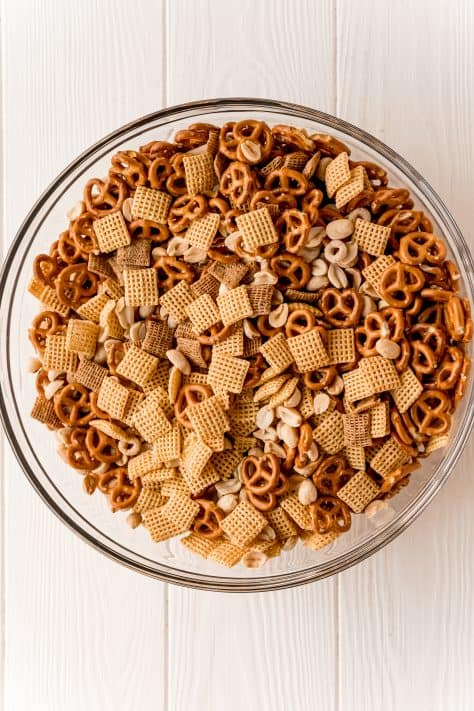 The Best Party Chex Mix ingredients in bowl