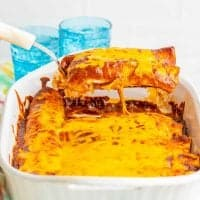 Homemade Chicken Enchiladas with Red Enchilada Sauce recipe