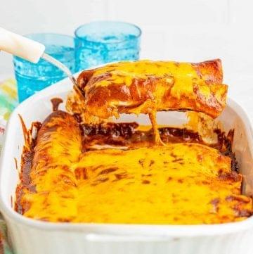 Homemade Chicken Enchiladas with Red Enchilada Sauce recipe