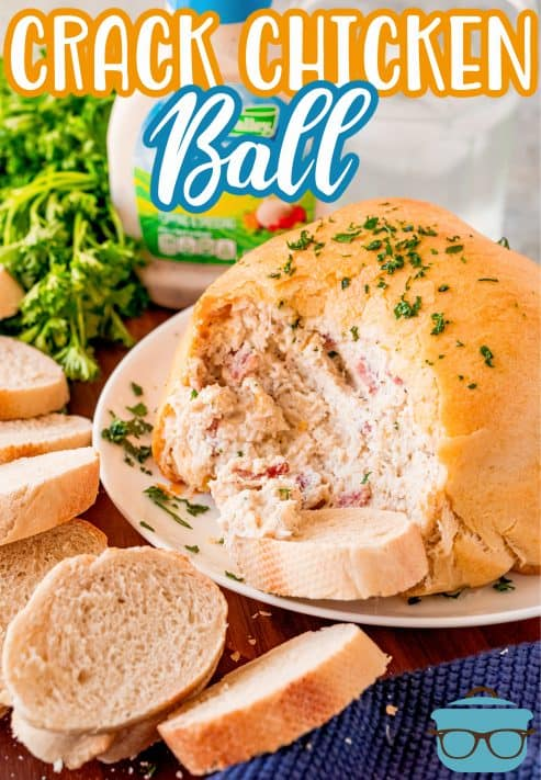 Crack Chicken Ball on plate with bread slice and chicken showing Pinterest Image