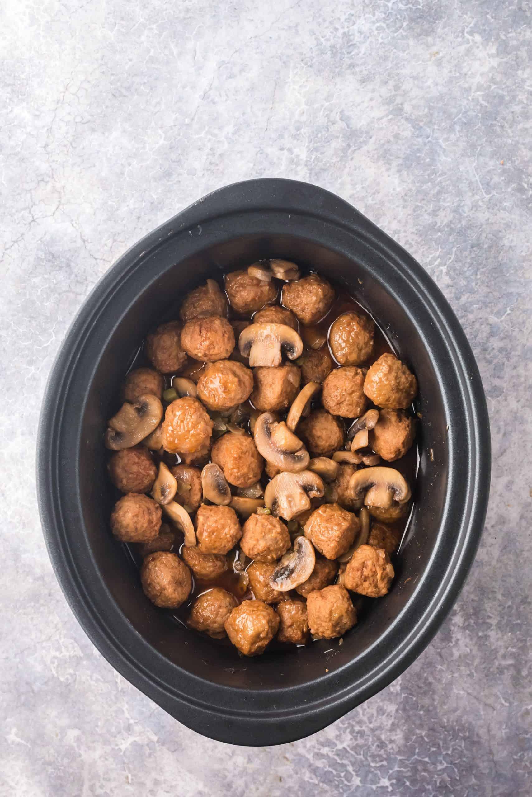 Stirred up mixture in crock pot