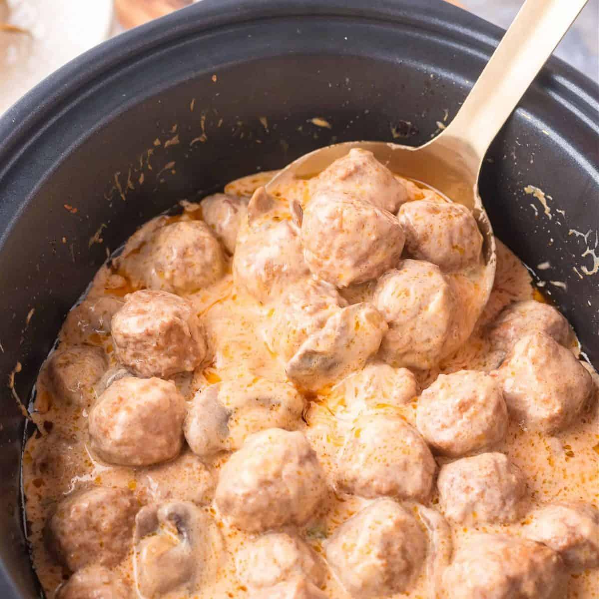 Square Meatball Stroganoff in Crock Pot